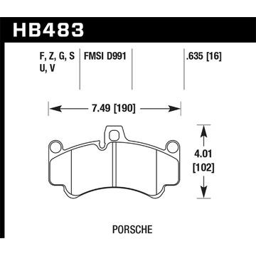 Hawk Performance HB483Q.635 Disque Plaquette de Frein pour 01-13 911 Boxster
