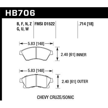 Hawk Performance HB706G.714 Disque Plaquette de Frein pour 11-16 Cruze