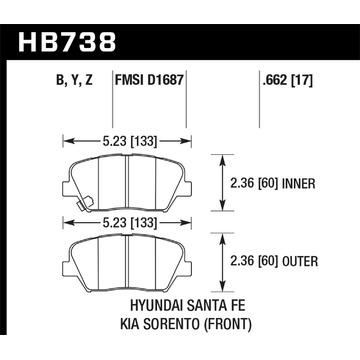 Hawk Performance HB738Y.662 Disco de Freno Almohadilla
