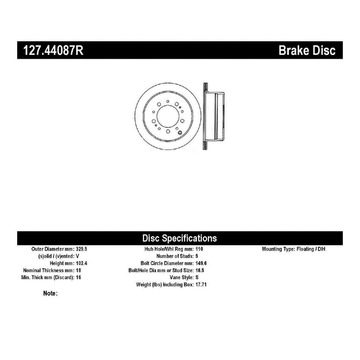 Stoptech 127.44087R Stoptech Sport Rotor für 98-07 Land Cruiser LX470