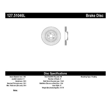 StopTech 127.51046L StopTech Sport Rotor Fits 12-17 Equus Genesis K900