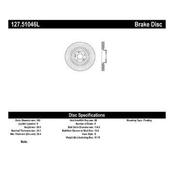 Stoptech 127.51046L Stoptech Sport Rotor para 12-17 Equus Génesis K900