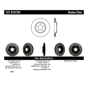 Stoptech 127.61072R Stoptech Sport Rotor