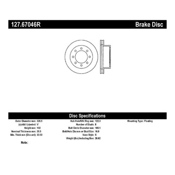 StopTech 127.67046R StopTech Sport Rotor Fits 00-02 Ram 2500 RAM 3500