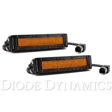 Diode Dynamics 6 Inch LED Light Bar Amber Flood Stealth Pair