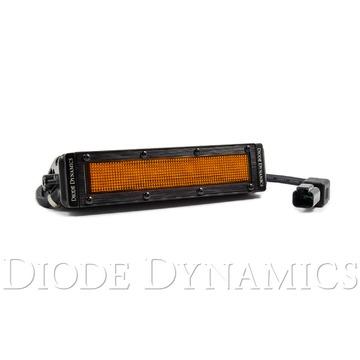 Diode Dynamics 6 Inch LED Light Bar Amber Flood Stealth Single