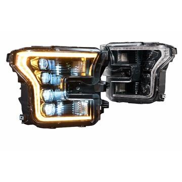 Morimoto LF502-A XB LED Head Lights Ford F150 15-17 Set / Amber DRL / Black