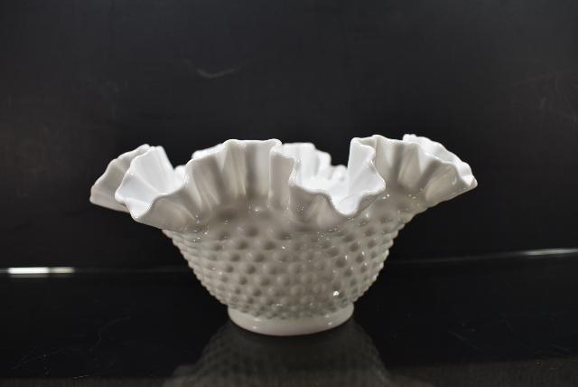 Fenton Hobnail Milk Glass Ruffled Edge Bowl