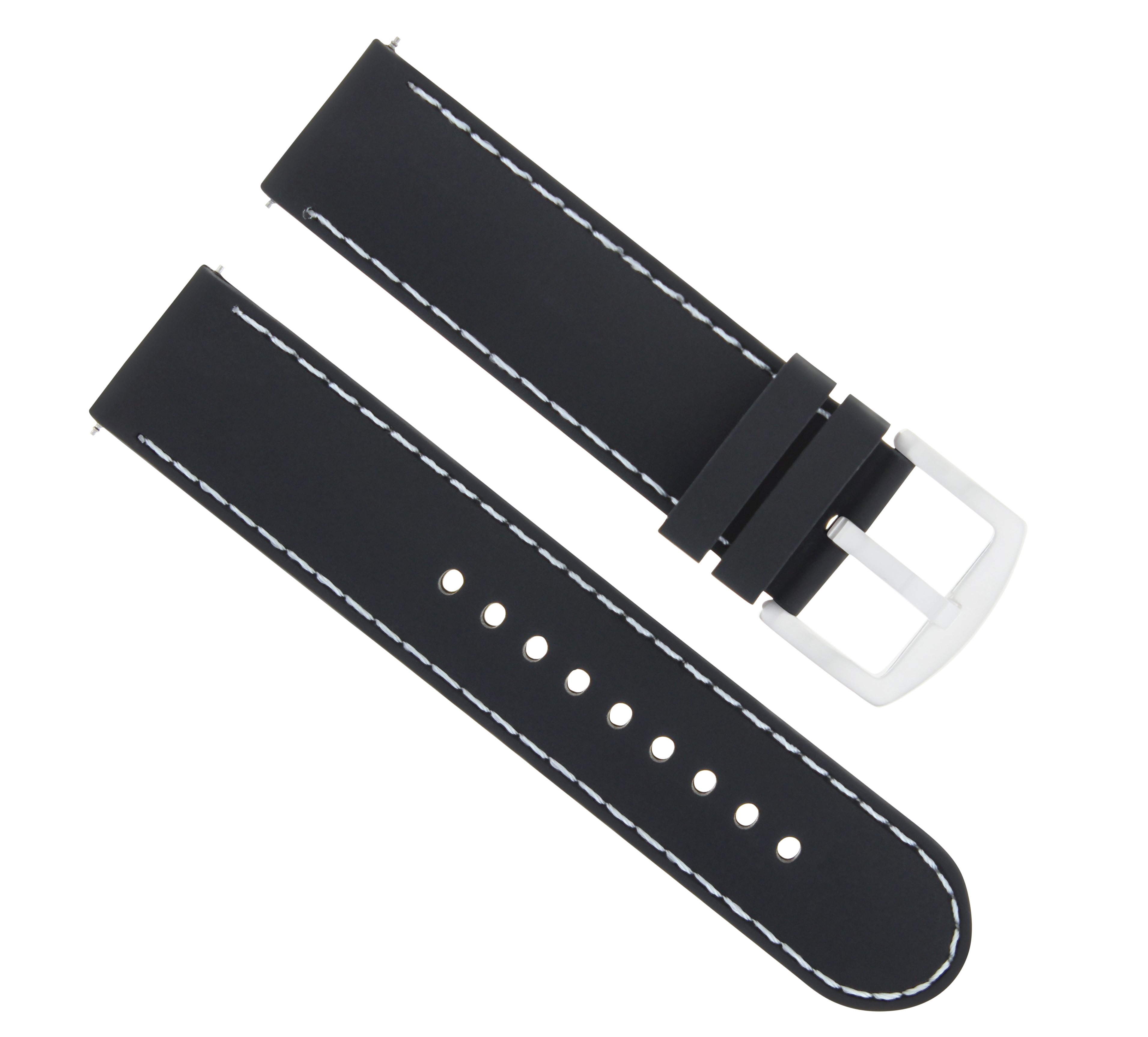20mm Rubber Silicone Watch Band Strap For 43mm Tissot V8 Black White