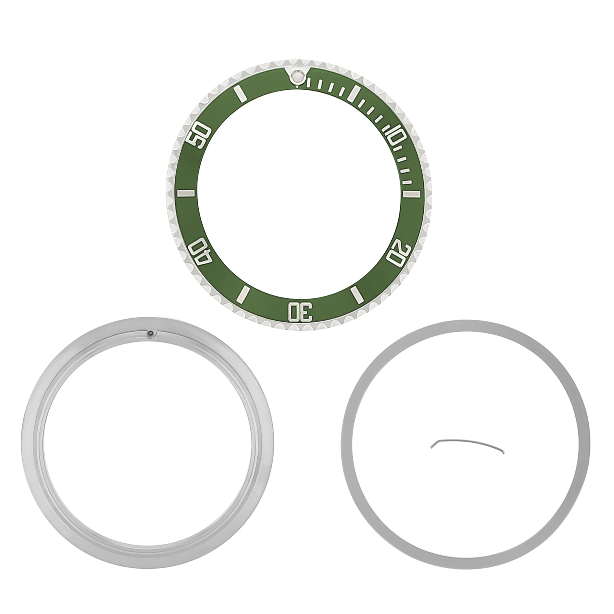 BEZEL,INSERT,RETAINING RING FOR ROLEX SUBMARINER 16800 16808 16613 16618 GREEN