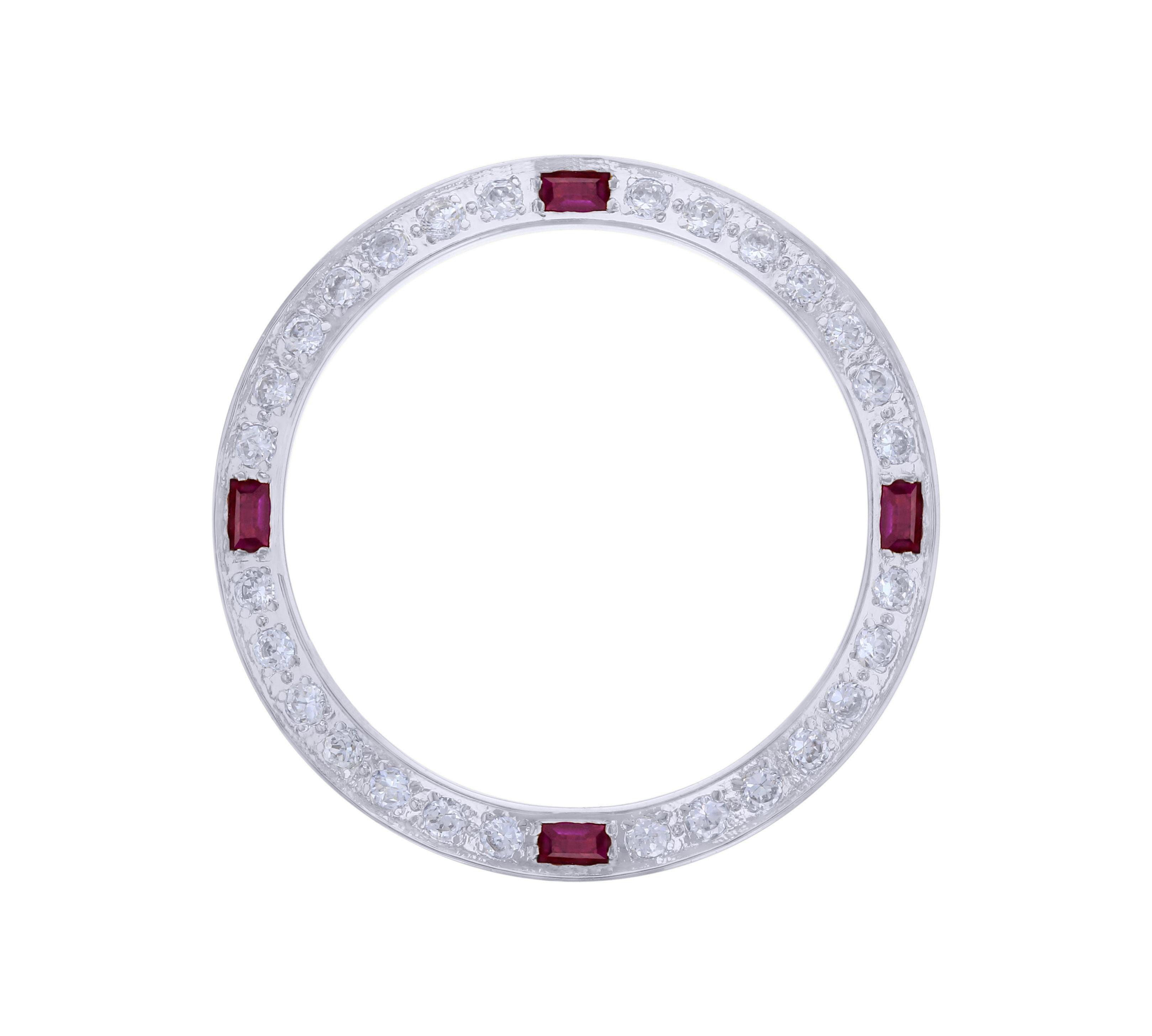 CREATED DIAMOND RUBY BEZEL FOR 26MM ROLEX TUDOR DATE DATEJUST WATCH WHITE