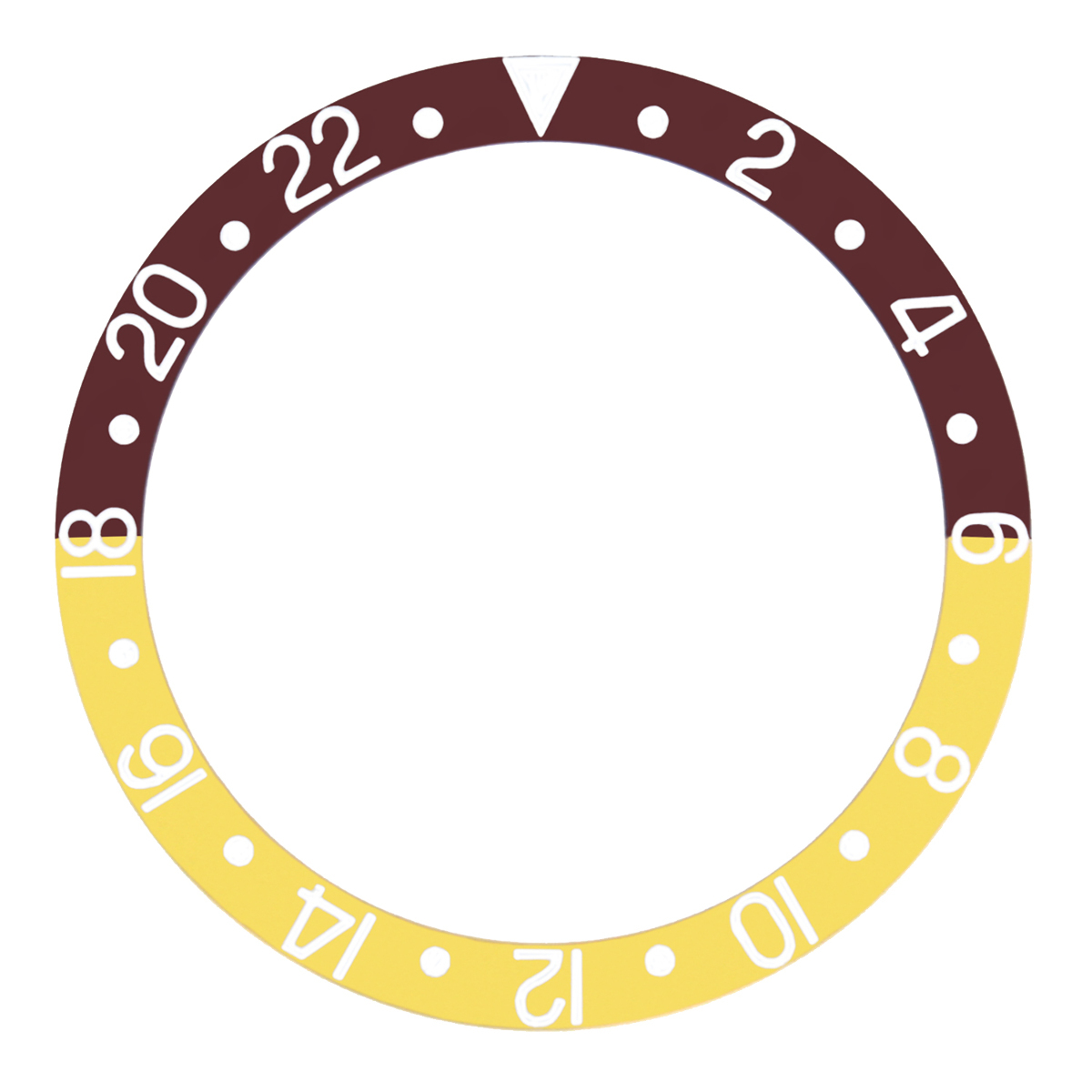 REPLACEMENT BEZEL INSERT BROWN/GOLD FOR WATCH 37.70MM X 30.70MM