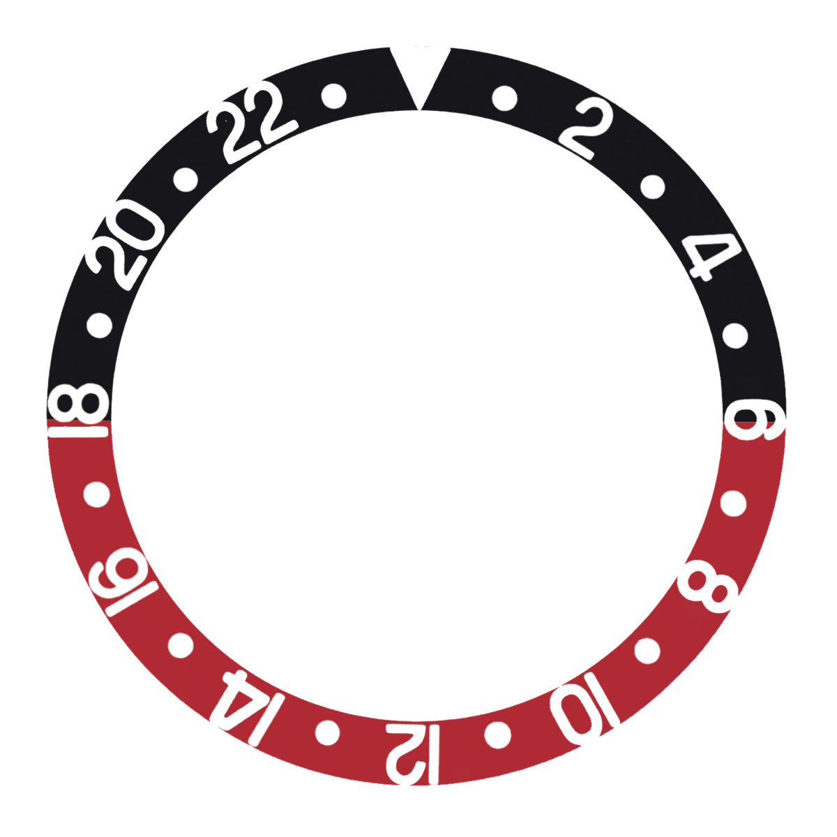 REPLACEMENT BEZEL INSERT BLACK/RED FOR WATCH 37.80MM X 30.20MM