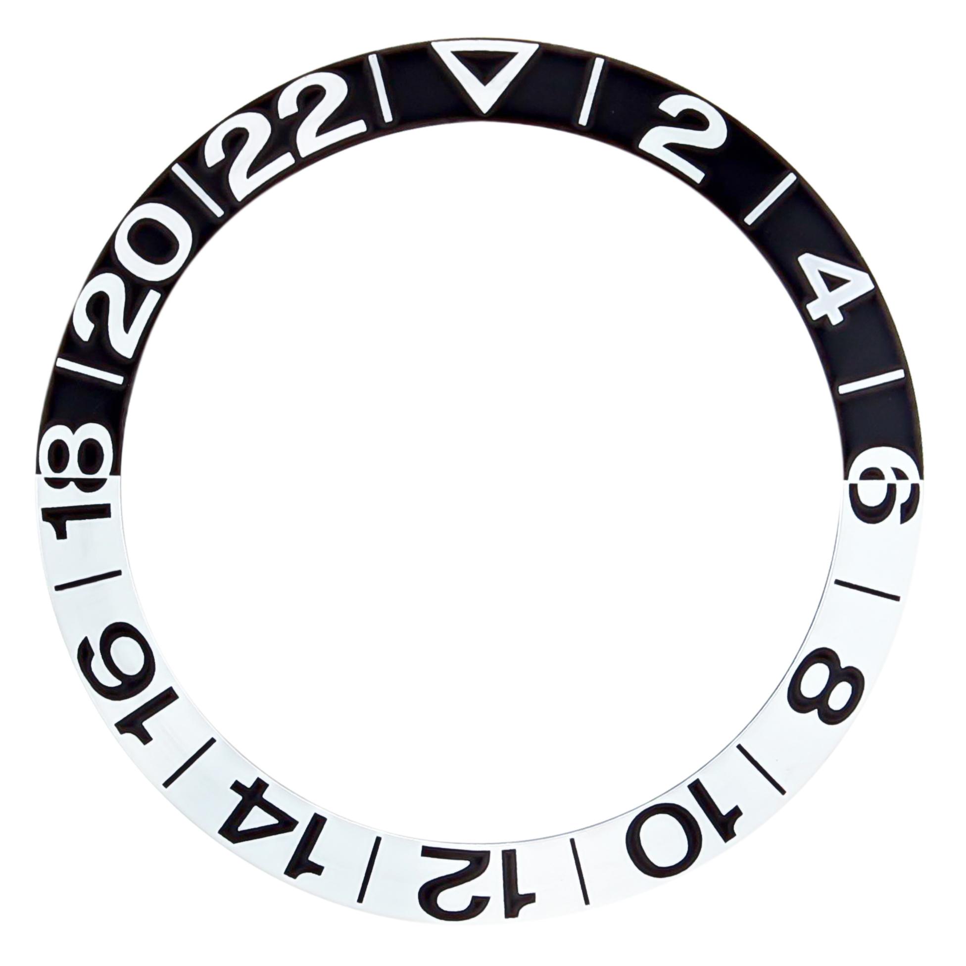 BEZEL INSERT FOR OMEGA GMT 300M SEAMASTER 50th ANNIVERSARY 2354.50 BLACK/SILVER