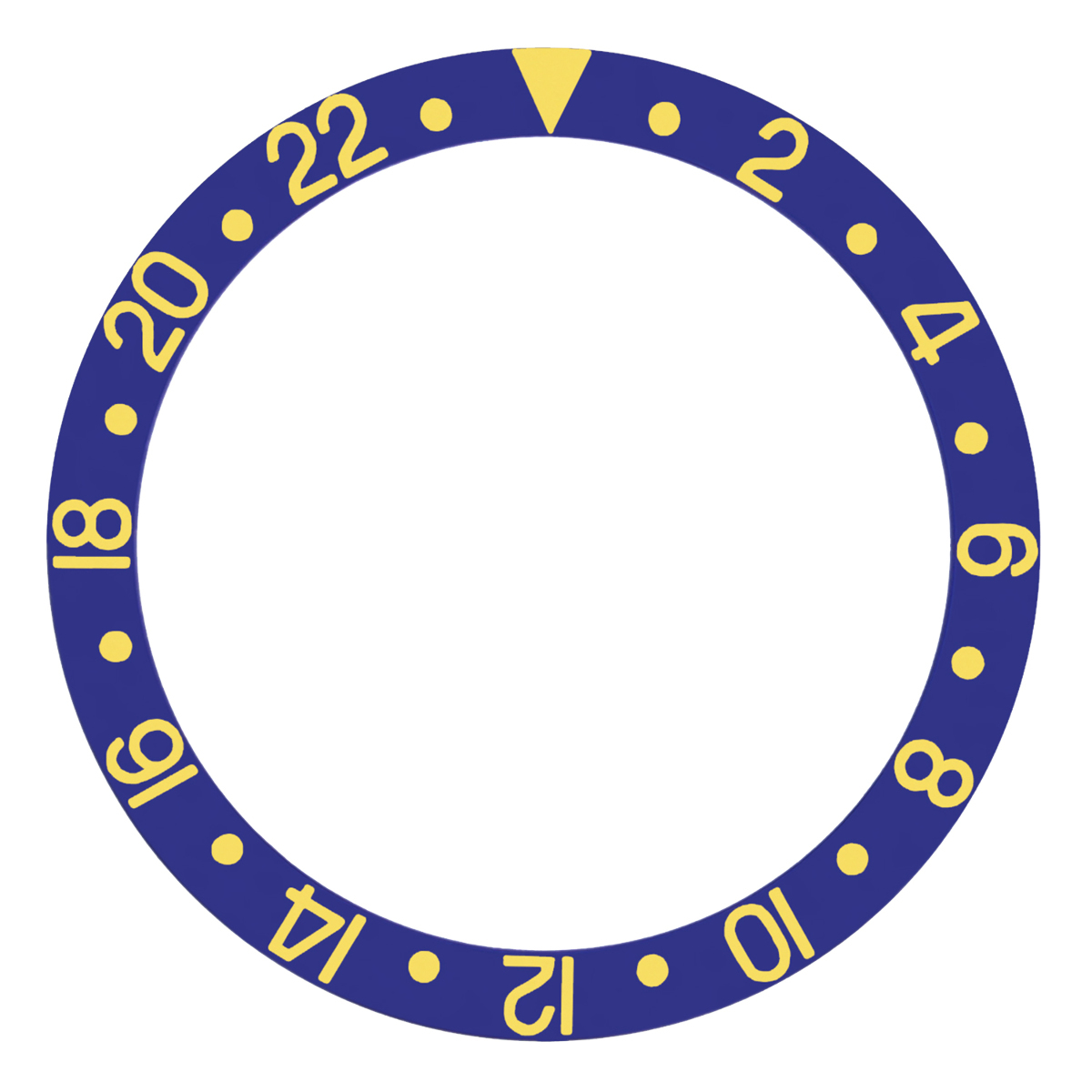 REPLACEMENT BEZEL INSERT BLUE WITH GOLD FONT FOR WATCH 37.80MM X 30.20MM