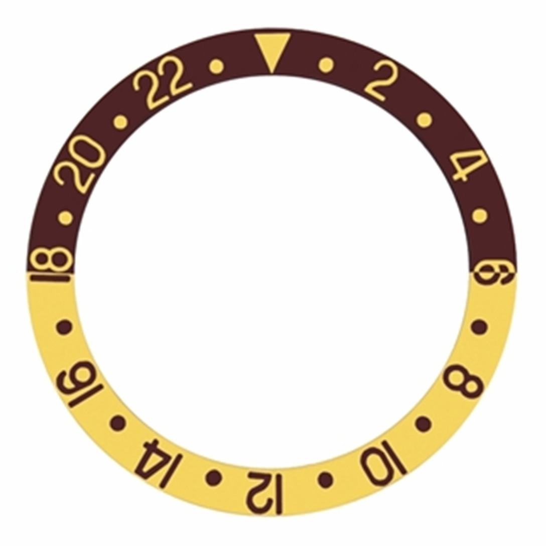 REPLACEMENT BEZELINSERT BROWN/GOLD FOR WATCH 37.80MM X 30.20MM