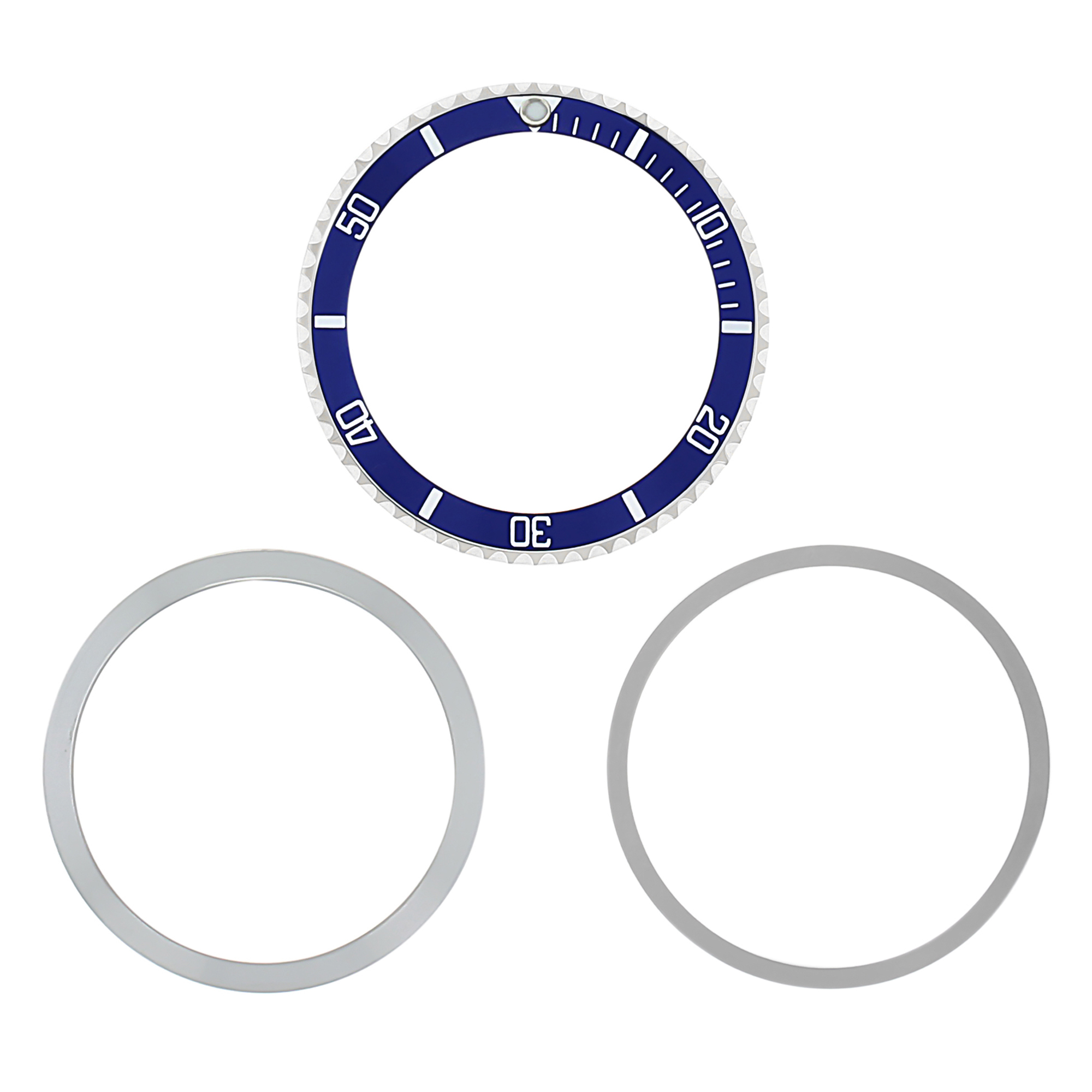 BEZEL,RETAINING+ INSERT FOR ROLEX SUBMARINER 5508, 5512 5513 1680 BLUE INSTALLED