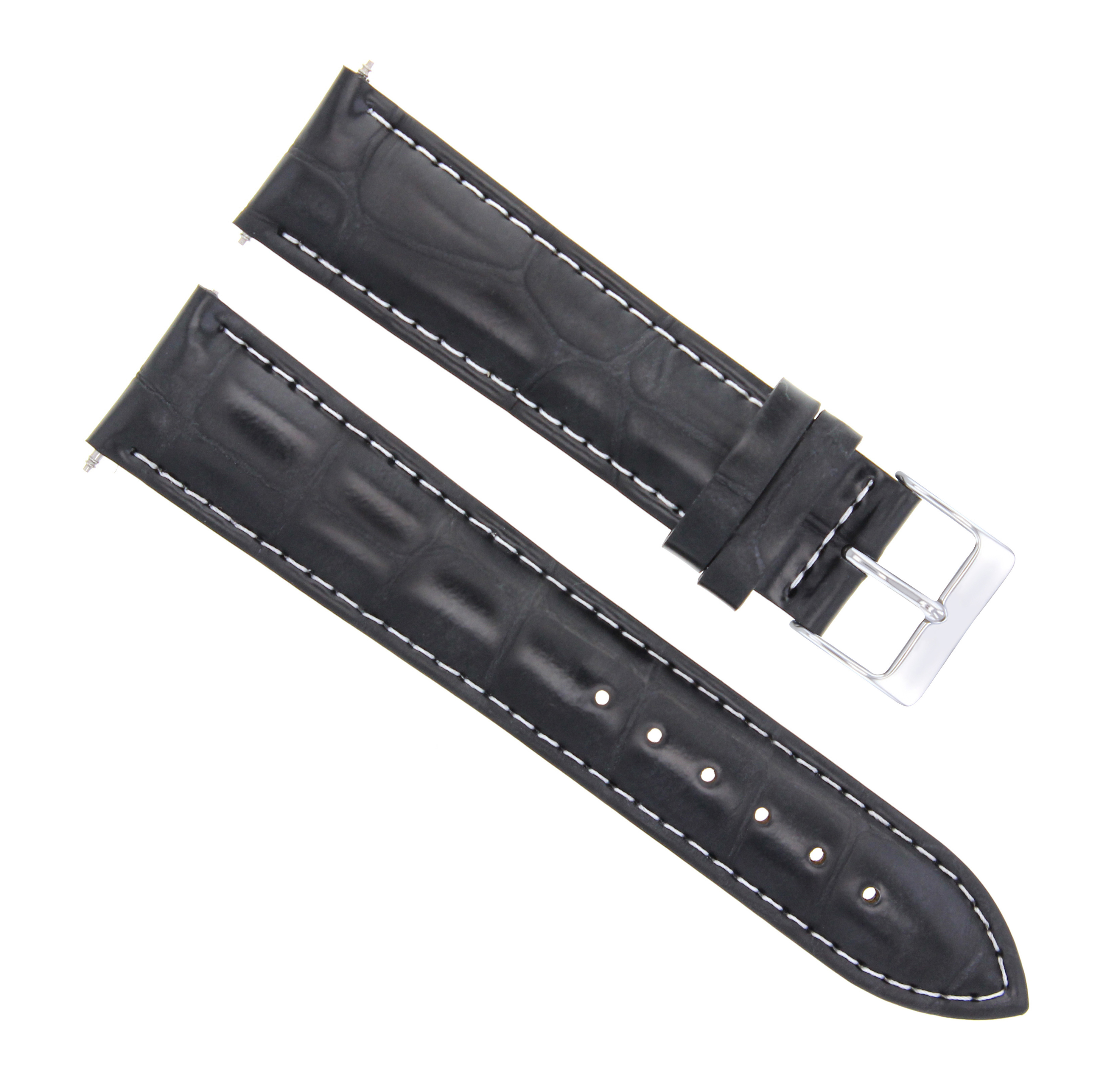 20/16MM LEATHER WATCH BAND STRAP FOR 36MM ROLEX 16013 16233 BLACK WHITE STITCH