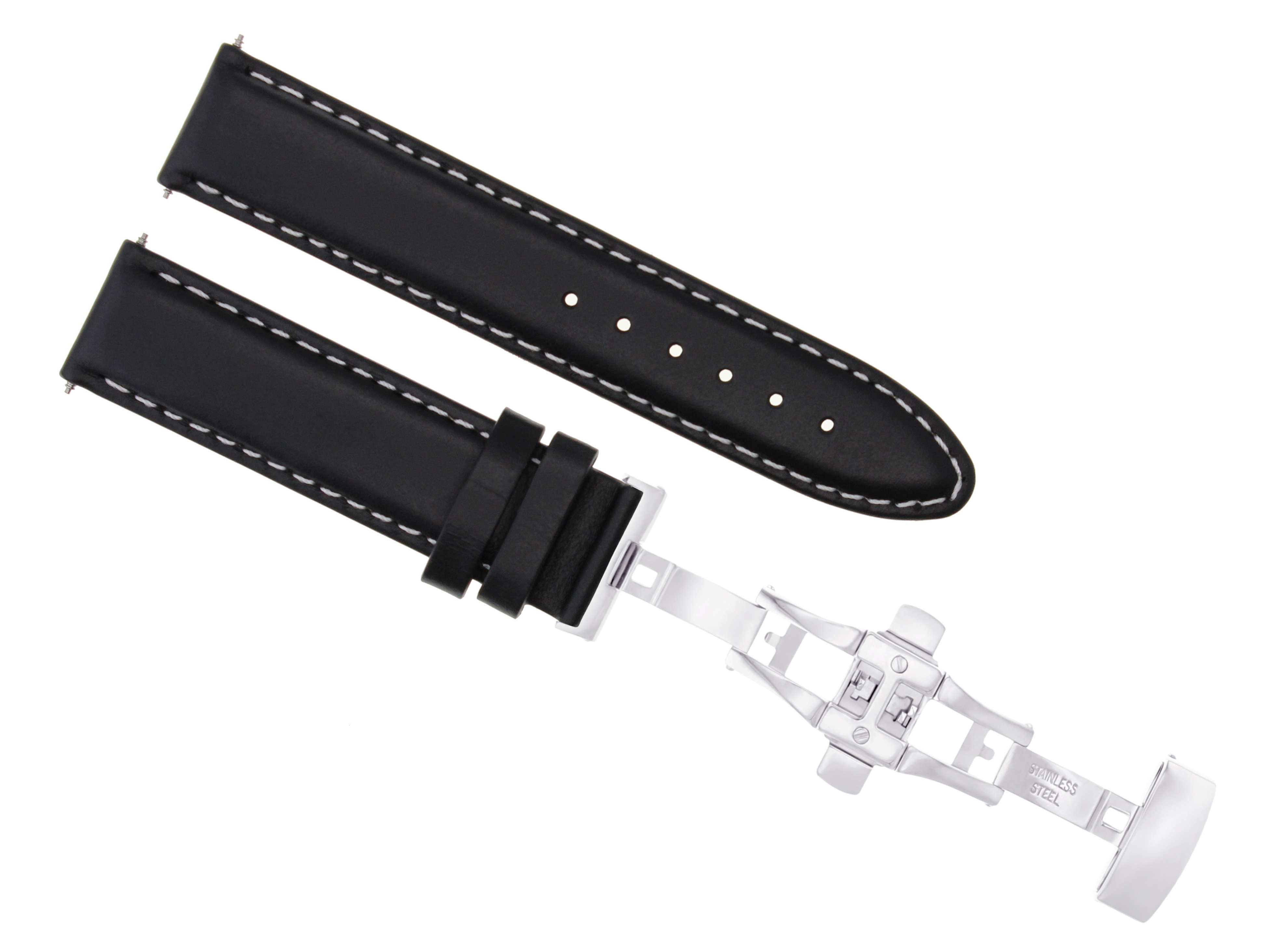 18MM LEATHER WATCH BAND STRAP FOR ROLEX DATE WATCH DEPLOYMENT CLASP BLACK WS