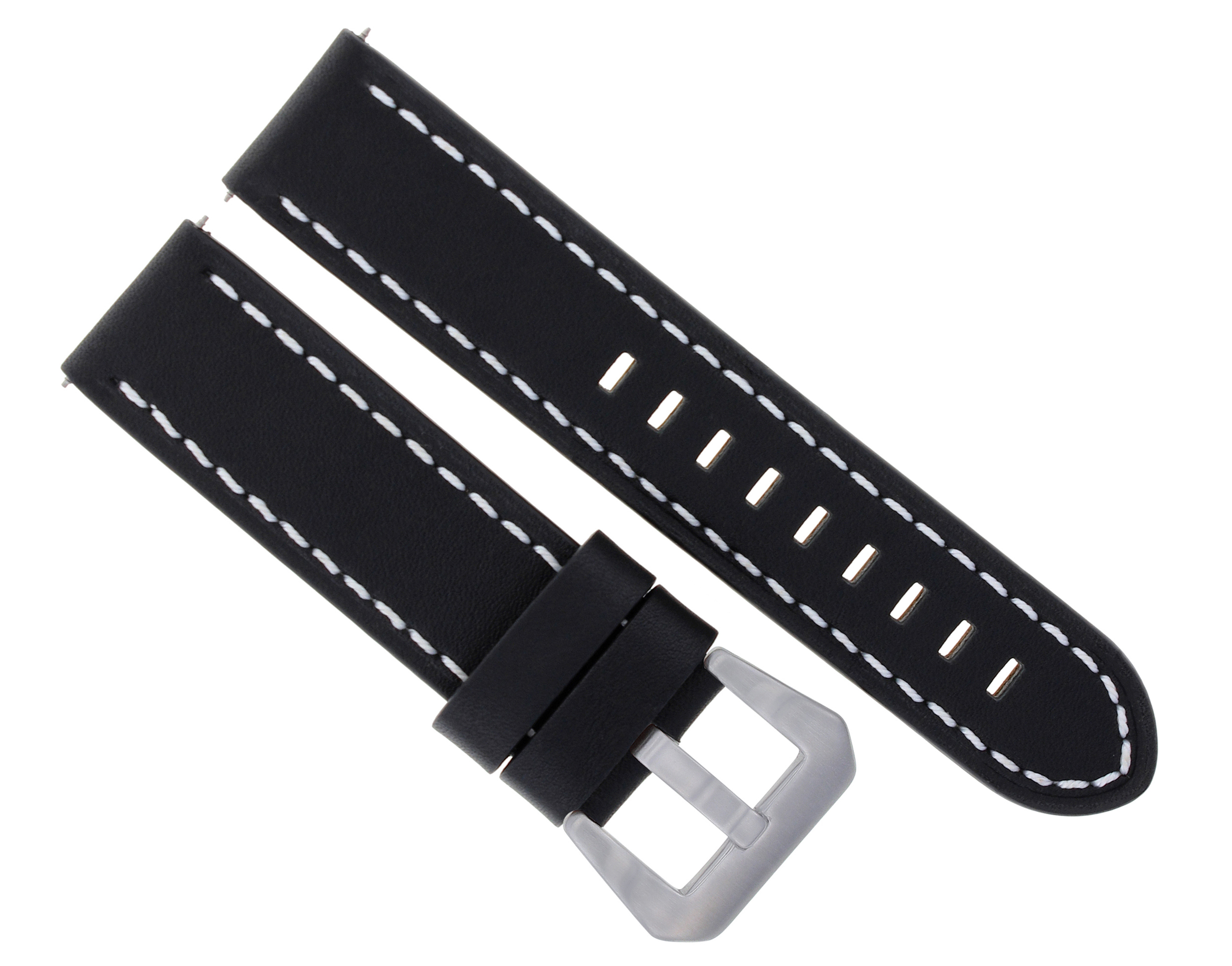 6b67e9a2351 20MM BUFFALO LEATHER WATCH STRAP BAND FOR BREITLING PILOT BLACK WHITE STITCH   10
