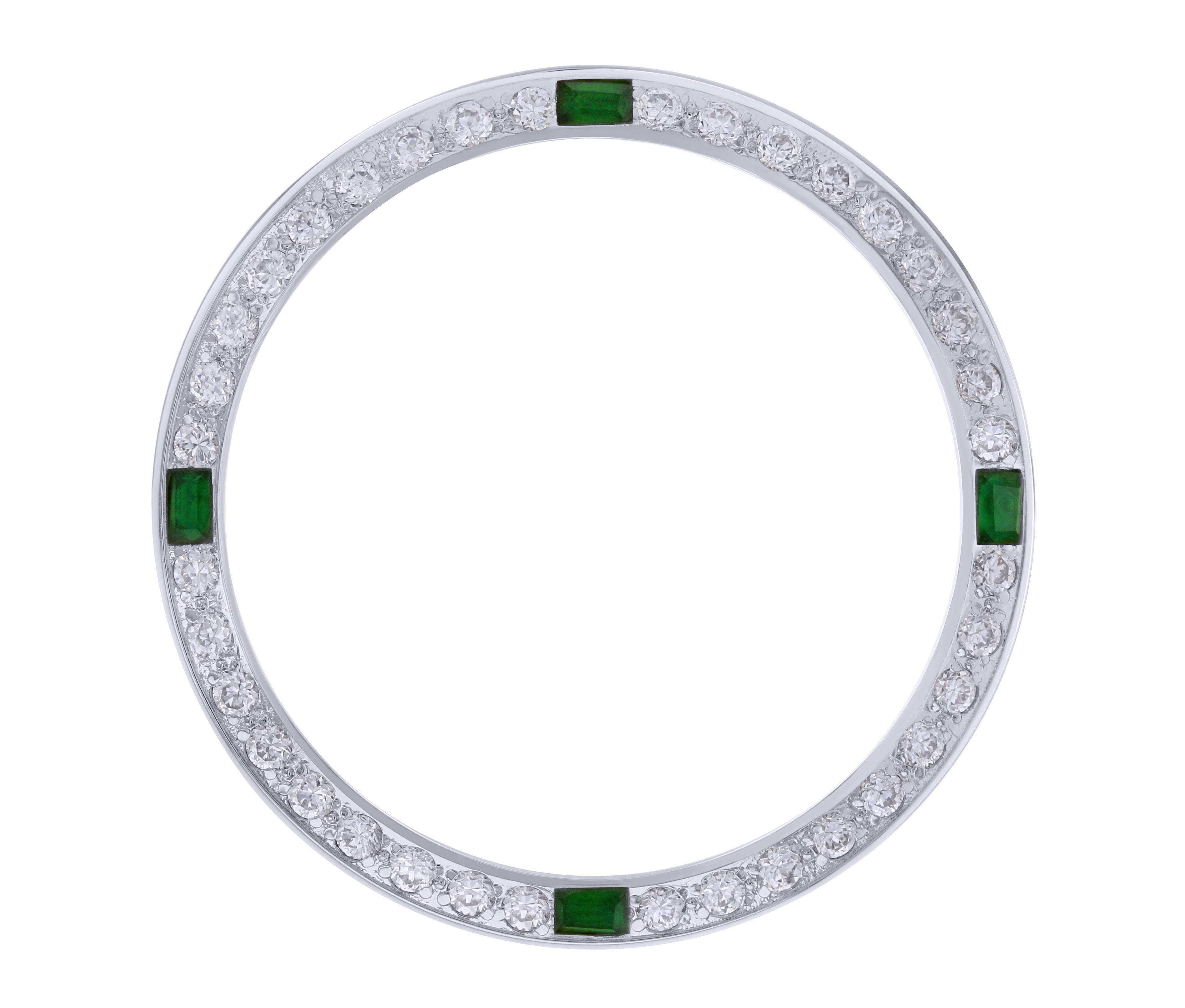 CREATED EMERALD  BEZEL FOR 36MM ROLEX TUDOR BLACK BAY AUTOMATIC WATCH WHITE