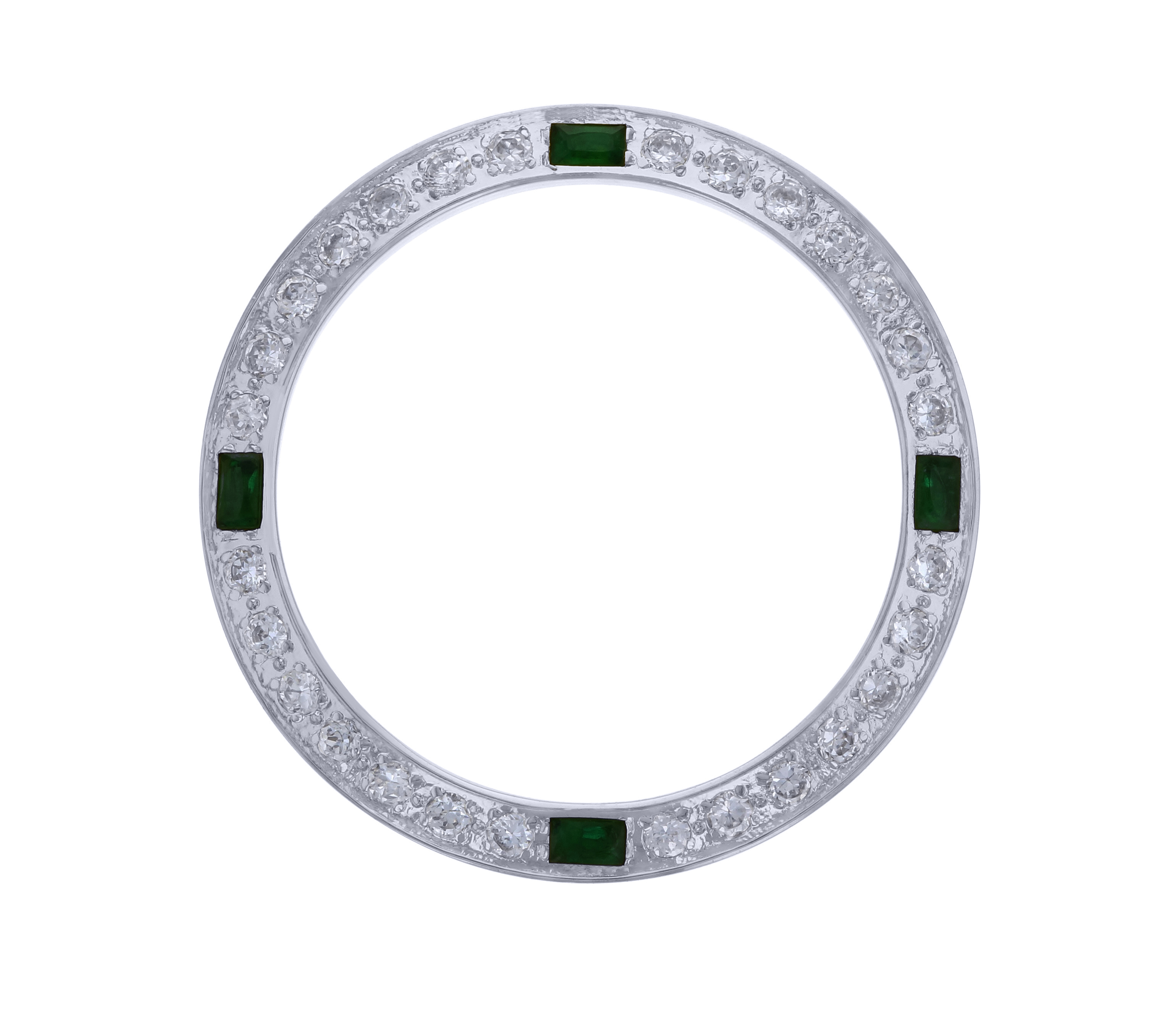 CREATED DIAMOND EMERALD BEZEL FOR 26MM TUDOR PRINCE DATEJUST WATCH LADY WHITE