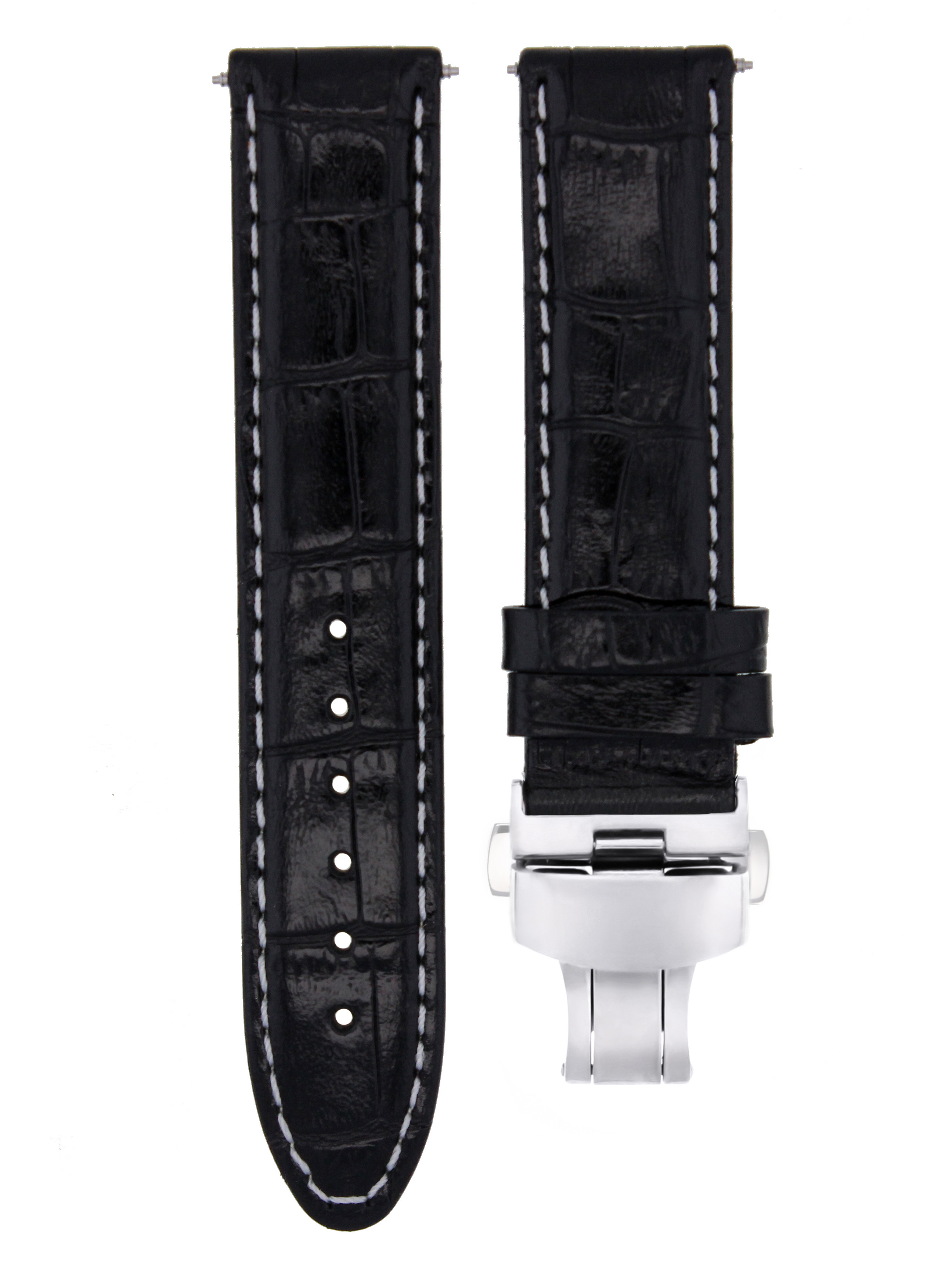 18MM LEATHER WATCH STRAP BAND FOR ROLEX WATCH BUTERFLY CLASP BLACK WHITE STITCH