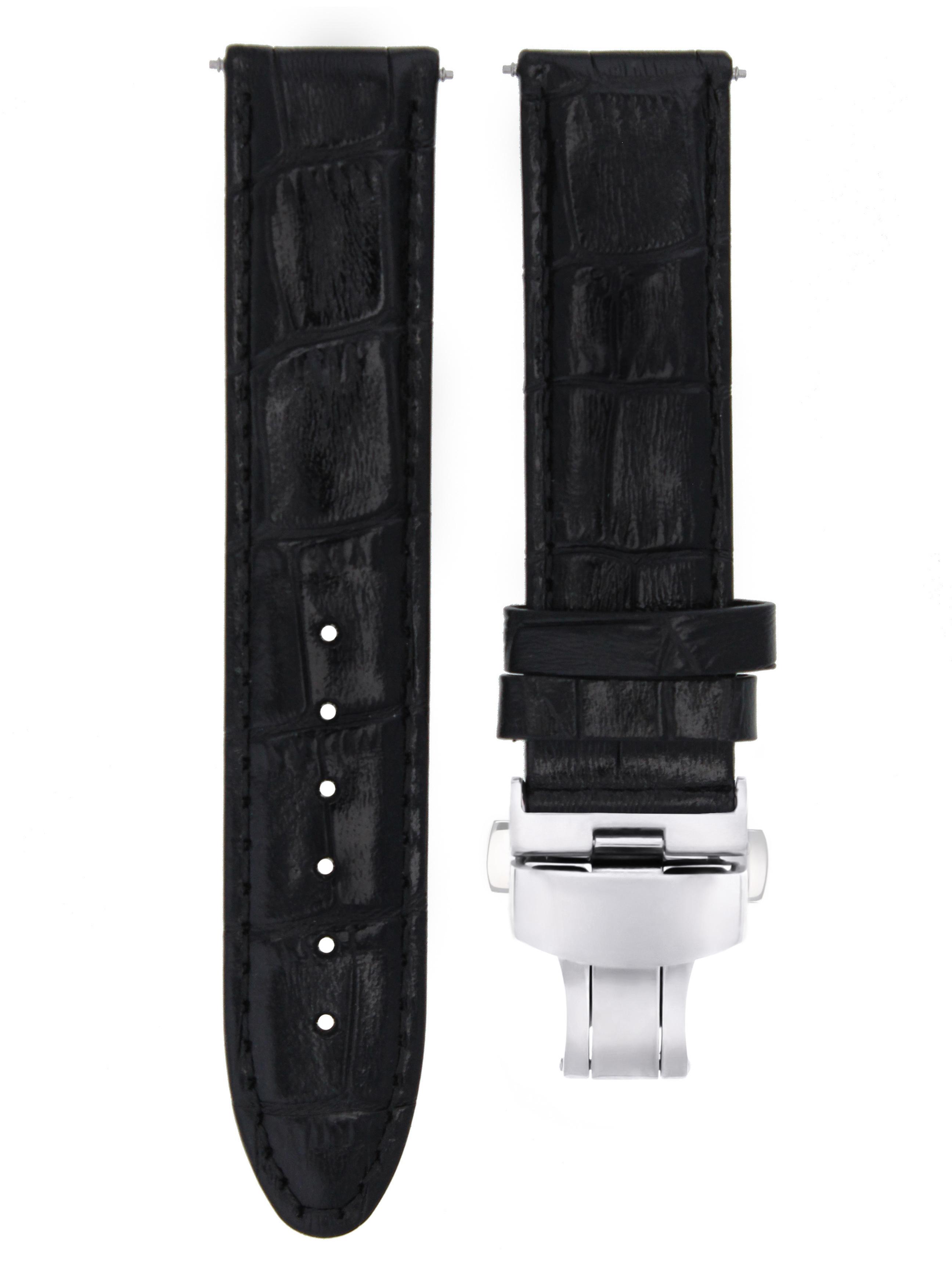 20MM PREMIUM LEATHER WATCH STRAP BAND FOR 36MM ROLEX DATEJUST SUBMARINER BLACK