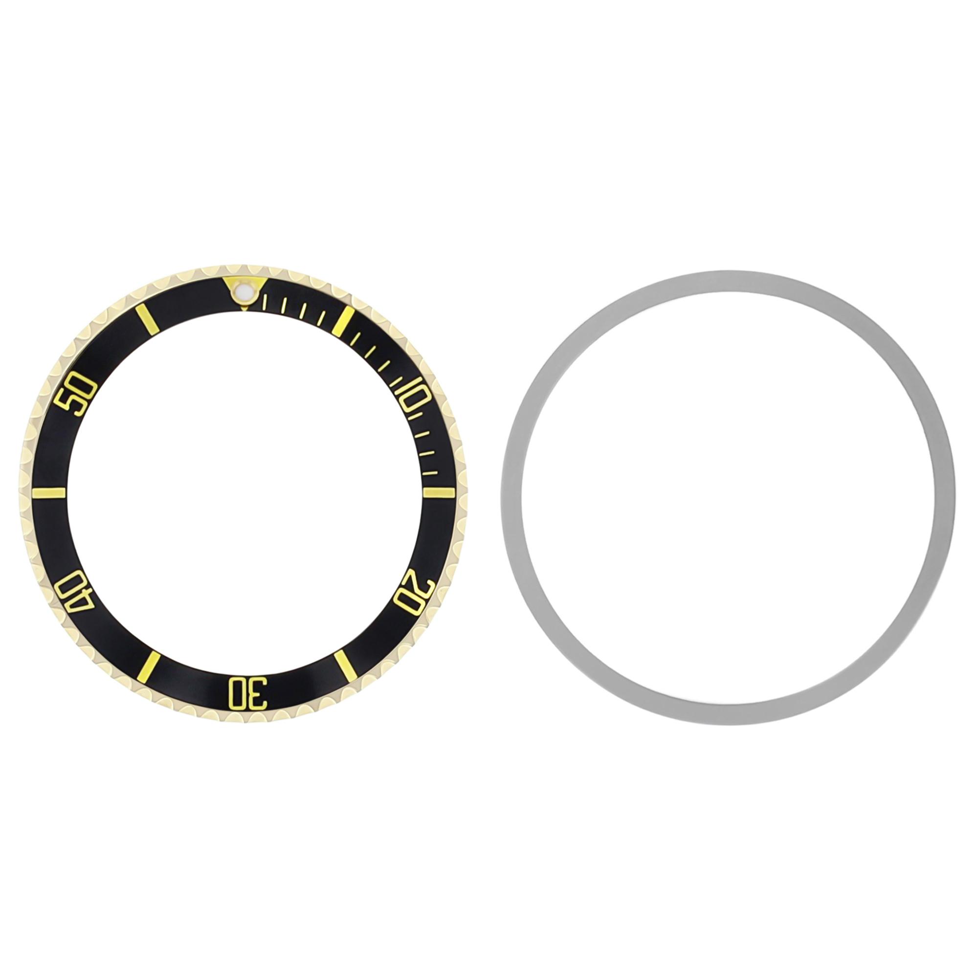 BEZEL+ INSERT FOR VINTAGE TUDOR SUBMARINER 18KY REAL GOLD 9401, 7016 WATCH BLACK