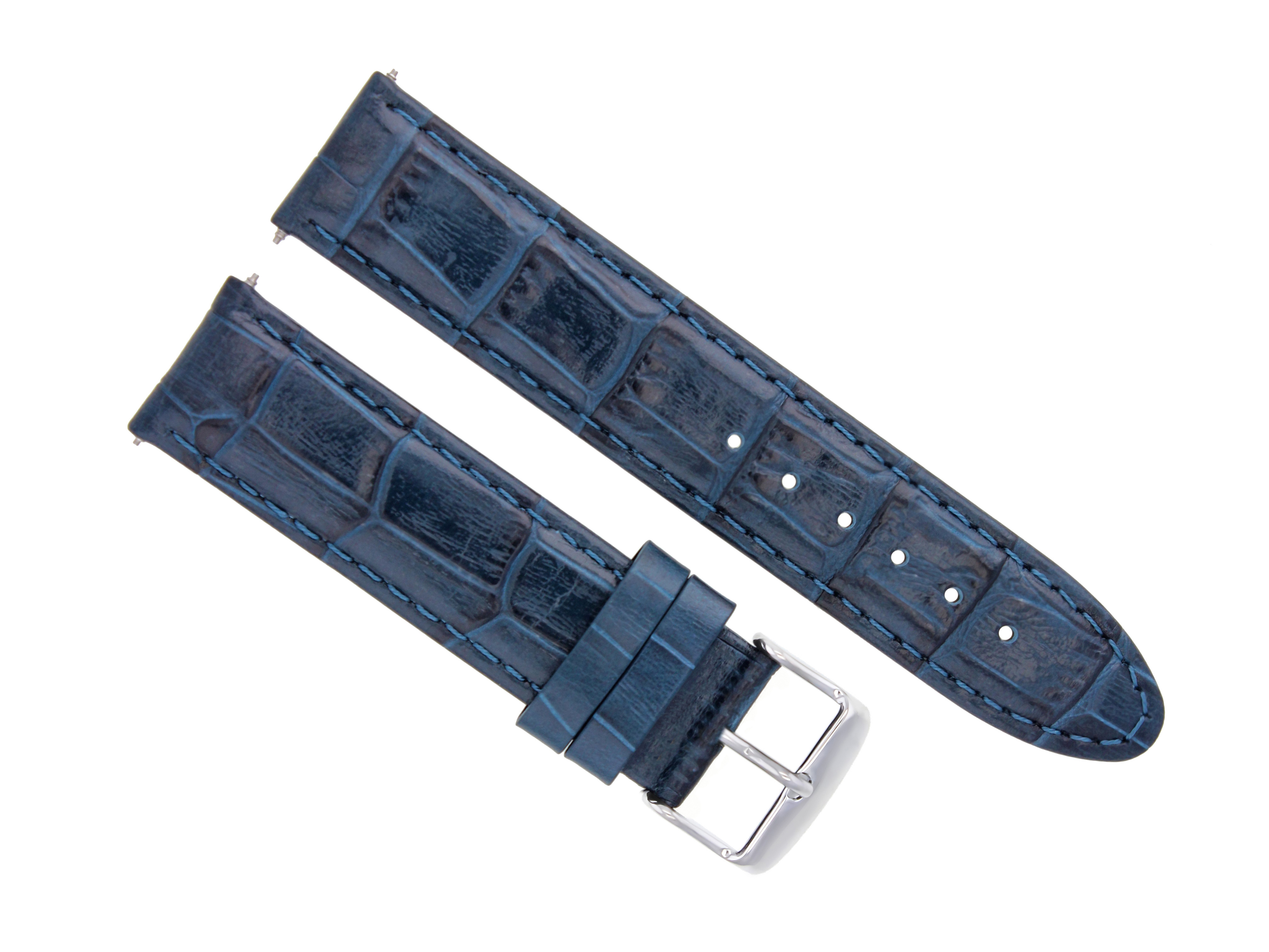 22MM PREMIUM LEATHER WATCH STRAP BAND FOR OMEGA SEAMASTER PLANET OCEAN BLUE