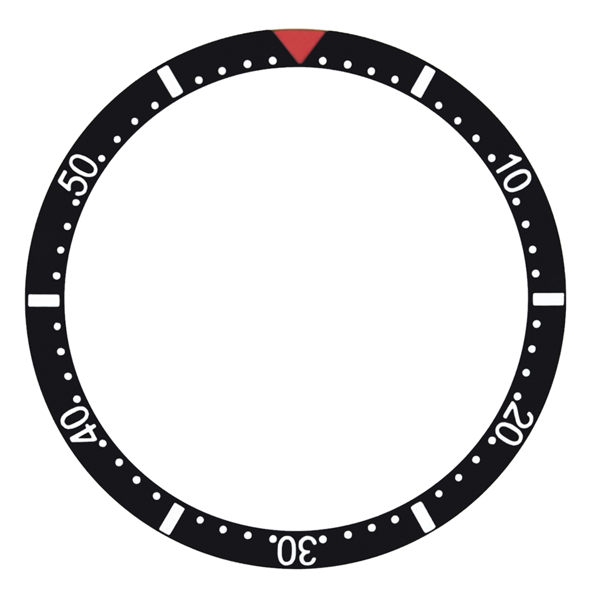 REPLACEMENT BEZEL INSERT BLACK WITH RED TRIANGLE FOR WATCH 37.50MM X 30.50MM