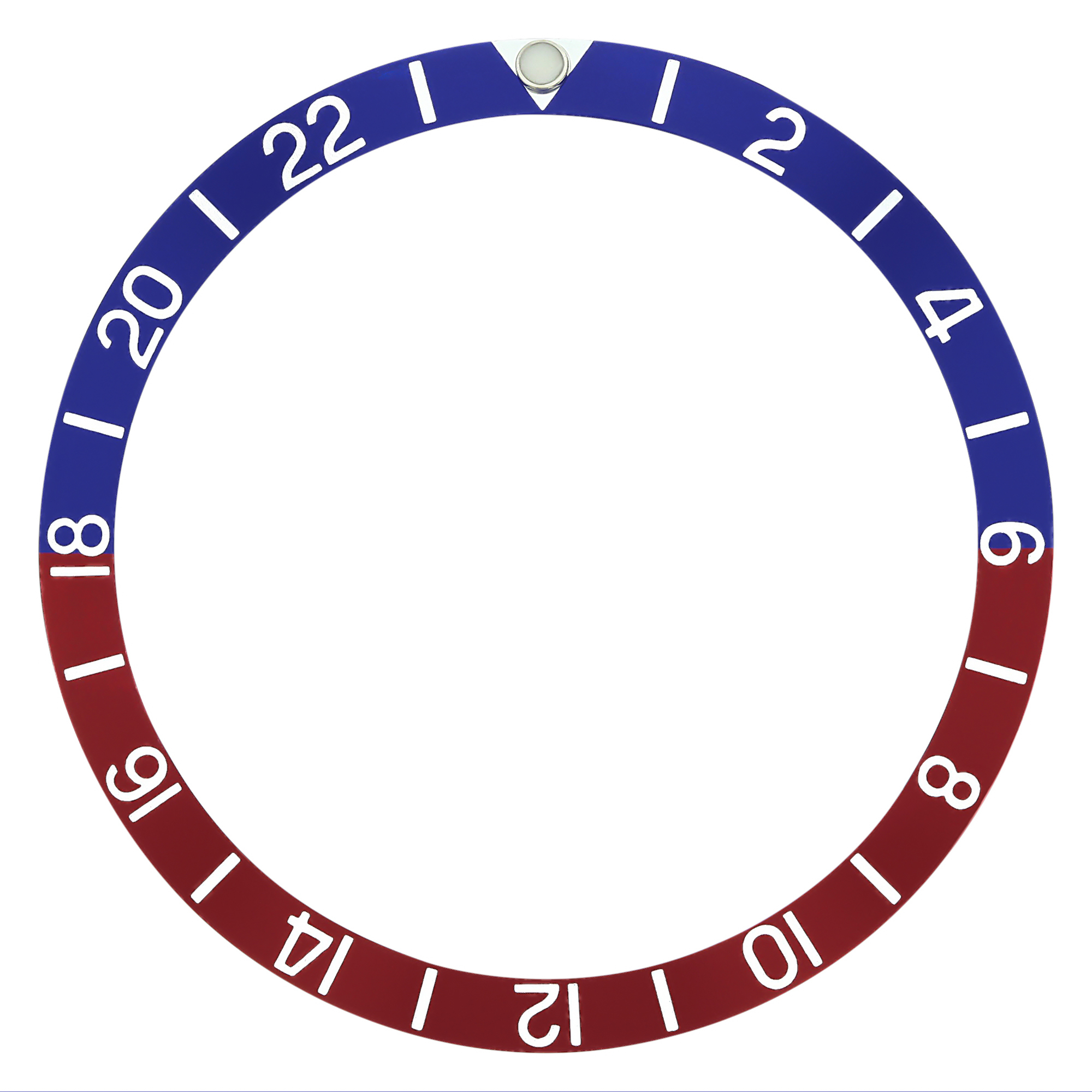 REPLACEMENT BEZEL INSERT BLUE/RED WITH PEARL FOR WATCH 37.70MM X 31.80MM