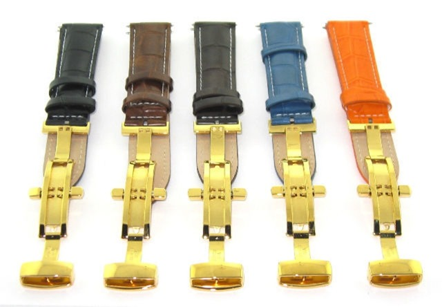 17-18-19-20-21-22-23-24MM LEATHER BAND STRAP DEPLOYMENT CLASP FOR SEIKO 3B GOLD