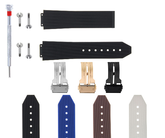 21-24-25MM RUBBER SILICONE WATCH BAND FOR H HUBLOT W/BUCKLE, 4 SCREW SCREWDRIVER