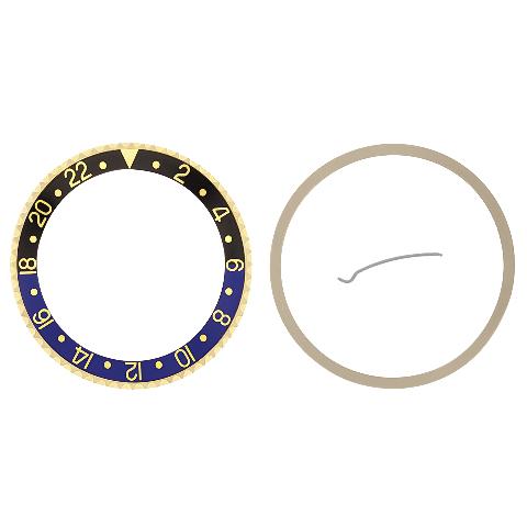 BATMAN BEZEL & INSERT FOR ROLEX GMT 18KY GOLD 16700 16713,16718,16760 BLACK/BLUE