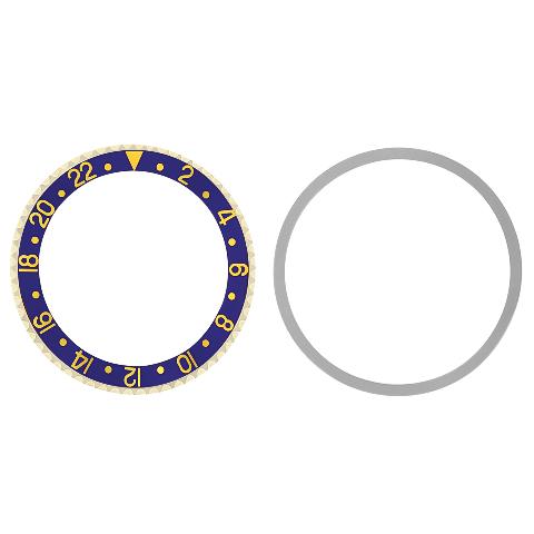 BEZEL & INSERT & RETAINING FOR ROLEX GMT I 1670 1675 16750 16753 16758 BLUE GOLD