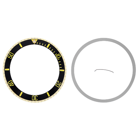 BEZEL + CERAMIC INSERT FOR ROLEX SUBMARINER 18KY GOLD 16800 16613 16610 ENGRAVED