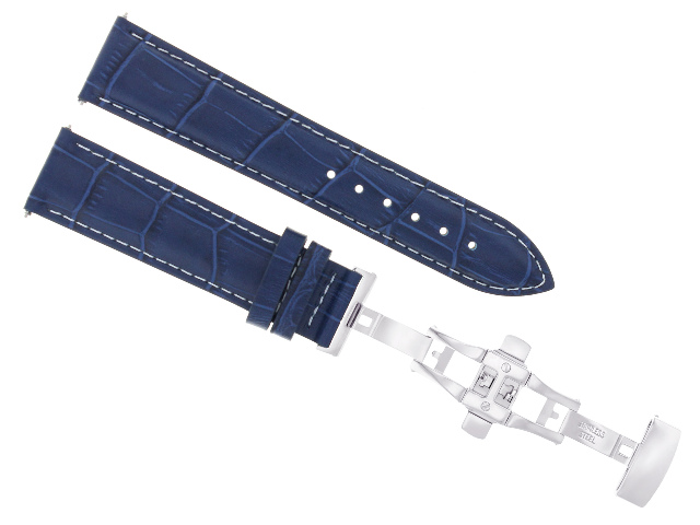 19/16MM LEATHER BAND STRAP BUTTERFLY DEPLOYMENT CLASP FOR OMEGA DEVILLE BLUE WS