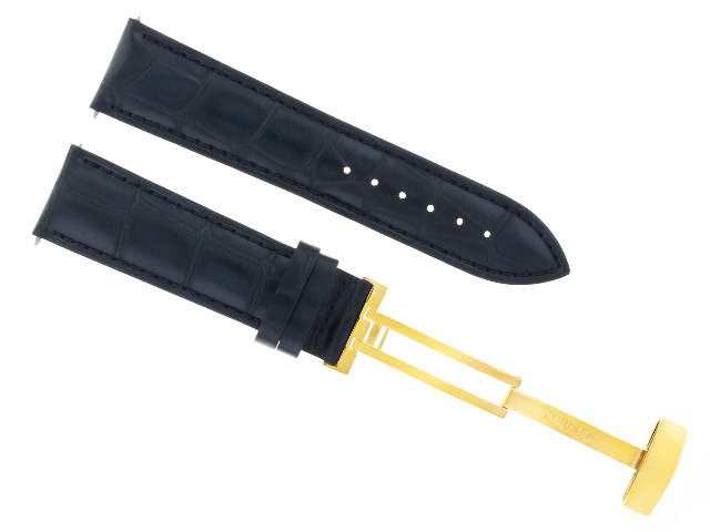 18MM LEATHER WATCH STRAP BAND DEPLOYMENT CLASP BUCKLE FOR INVICTA DARK BLUE GOLD