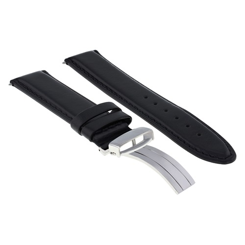 18/18MM LEATHER BAND STRAP SMOOTH FOR ROLEX WATERPROOF DEPLOYMENT CLASP BLACK