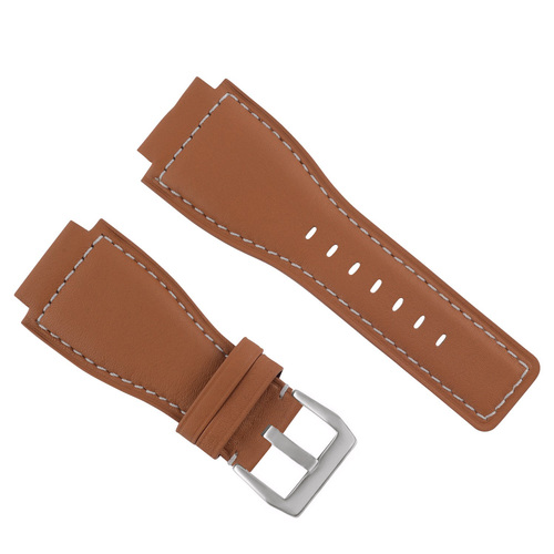 24MM WATCH BAND STRAP SMOOTH FOR BELL ROSS BR-01-BR-03 WATCH TAN WS WITH BUCKLE