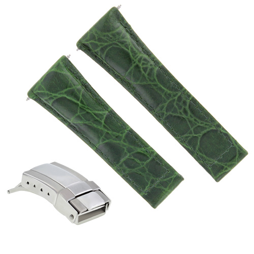 GENUINE LEATHER WATCH STRAP FOR ROLEX DAYTONA REGULAR  BLACK TAN GREEN STEEL