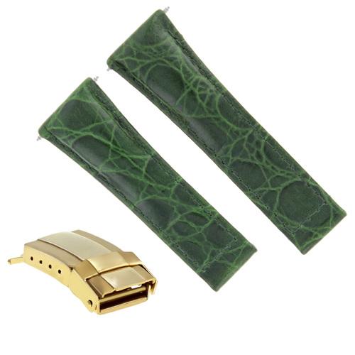 CROC LEATHER WATCH STRAP FOR ROLEX DAYTONA REGULAR BLACK TAN GREEN YELLOW GOLD