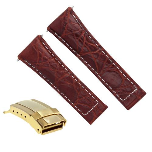 LEATHER WATCH BAND STRAP FOR ROLEX DAYTONA 116520 SHORT BLACK,TAN,GREEN GOLD