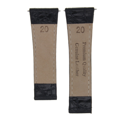 20MM CROC LEATHER WATCH BAND STRAP FITS ALL ROLEX DAYTONA MODELS + STEEL BUCKLE