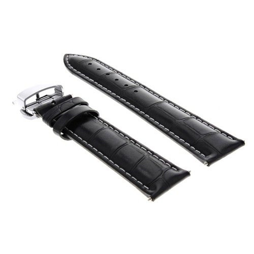 22MM LEATHER WATCH STRAP BAND FOR CHOPARD DEPLOYMENT CLASP BRACELET BLACK WS