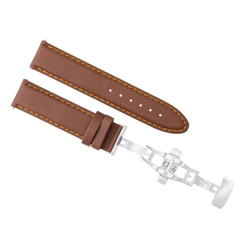 24MM LEATHER WATCH BAND STRAP SMOOTH FOR ZENO MAGELLANO WATCH CLASP L/BROWN OS