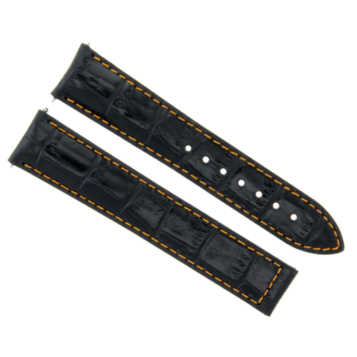 22MM LEATHER WATCH STRAP BAND DEPLOY CLASP FOR ZENITH WATCH BLACK ORANGE STITCH