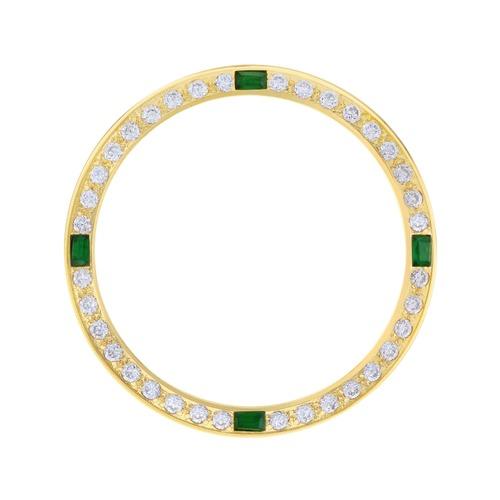 CREATED DIAMOND EMERALD BEZEL FOR 34MM ROLEX TUDOR PRINCE OYSTERDATE WATCH GOLD