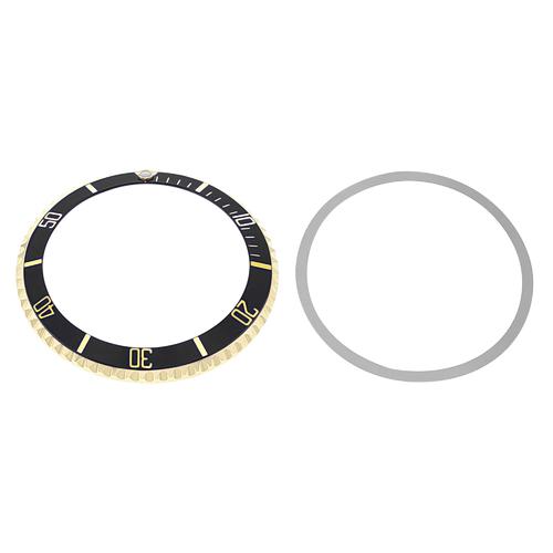 REAL GOLD ROTATING BEZEL+ INSERT FOR ROLEX SUBMARINER 18K 5513 5512 1680 BLACK